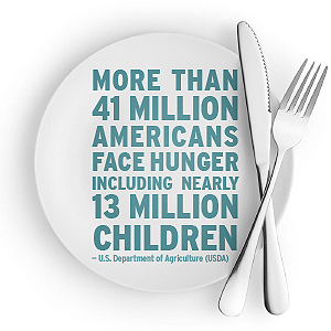 According to United States Department of Agriculture (USDA), more than 41 million Americans face hunger, including nearly 13 million children.