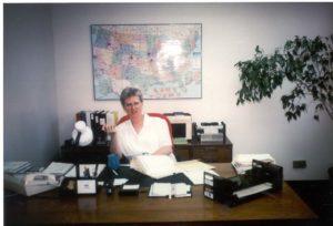 sister lillian at her desk in 1987