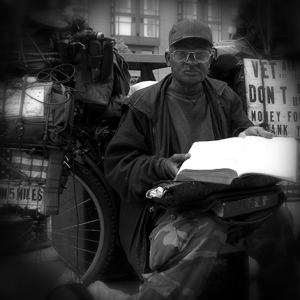 homeless veteran black and white photo