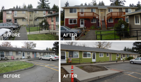 A six month rehabilitation project commenced in August at Mercy Housing Northwest's Lake Village East and Woodlake Manor properties in Snohomish and Lake Stevens. These homes are undergoing both interior and exterior renovations.