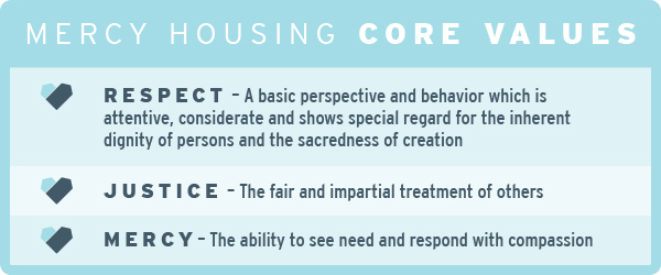 Respect – A basic perspective and behavior which is attentive, considerate and shows special regard for the inherent dignity of persons and the sacredness of creation  Justice – The fair and impartial treatment of others  Mercy –The ability to see need and respond with compassion