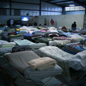 A room full of sleeping cots and sheets