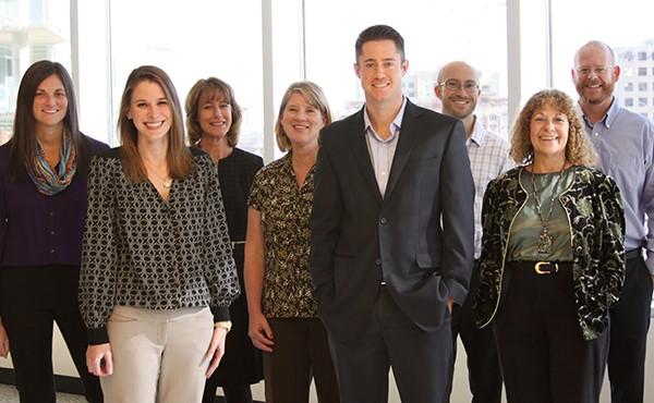 The Mercy Loan Fund Team. From left to right: Stefanie Joy, Lisa Taylor, Laurie Glasgow-Gill, Sheryl McCall, Jason Battista, Adam Kopp, Sandy Maben, Brian Sample.