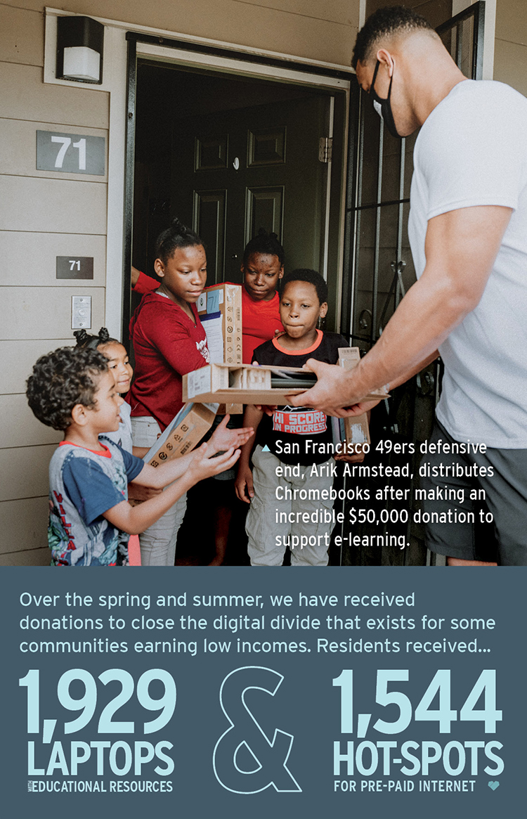 San Francisco 49ers defensive end, Arik Armstead, distributes Chromebooks after making an incredible ,000 donation to support e-learning.