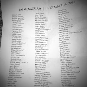 A list of people who died on the streets of Denver, CO December 2014 through December 2015