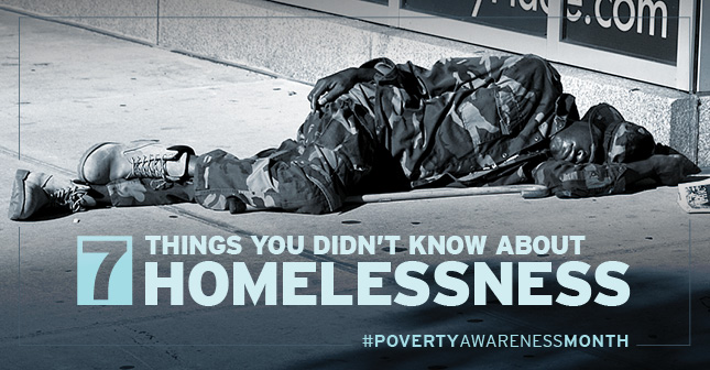 Man experiencing homelessness sleeping on a sidewalk with text,