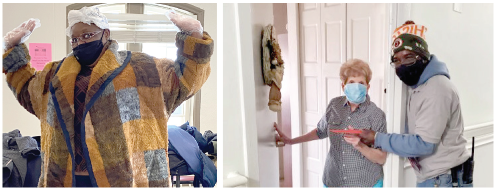 A resident models the new coat she picked out during a coat drive in Colorado; Staff delivered gifts and gift cards from generous donors to senior residents in Illinois.